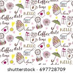 seamless pattern with hand... | Shutterstock .eps vector #697728709