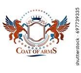 graphic vintage emblem composed ... | Shutterstock . vector #697739335
