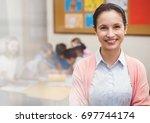 digital composite of elementary ... | Shutterstock . vector #697744174