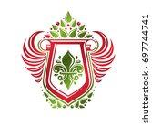 vintage heraldic emblem created ... | Shutterstock . vector #697744741