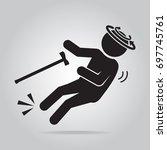 elderly man and slip injury... | Shutterstock .eps vector #697745761
