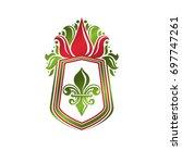 vintage heraldic emblem created ... | Shutterstock . vector #697747261