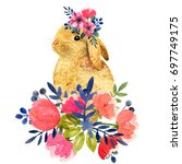 Stock photo watercolor illustration with little bunny and peony and leaves beautiful rabbit and flowers on a 697749175