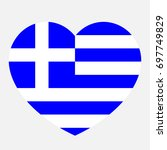 greece flag in the heart ... | Shutterstock .eps vector #697749829