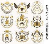 set of retro vintage insignias... | Shutterstock . vector #697752895