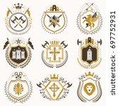 vintage heraldic coat of arms... | Shutterstock . vector #697752931