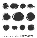 set of round text box. black... | Shutterstock .eps vector #697754971
