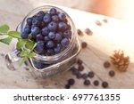 blueberry antioxidant organic...   Shutterstock . vector #697761355
