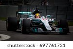 Small photo of Montreal, June 7 2017. F1 pilot Lewis Hamilton (GBR) racing the Mercedes W08 on circuit Gilles Villeneuve during P2 at the Formula 1 Canadian GP weekend, Canada.