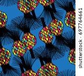vector seamless pattern. floral ... | Shutterstock .eps vector #697764661