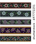 vector ribbons with floral... | Shutterstock .eps vector #697772251