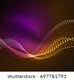 wave particles background   3d ... | Shutterstock . vector #697781791