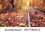 famous love tunnel at klevan... | Shutterstock . vector #697784311