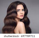beauty hair. brunette girl... | Shutterstock . vector #697789711