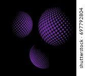 set of abstract round 3d purple ... | Shutterstock .eps vector #697792804