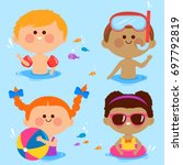 children swimming at the sea... | Shutterstock .eps vector #697792819