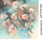 Stock photo light roses watercolor background 697799785