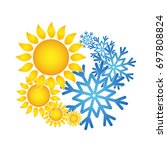 sun and snowflakes for air...   Shutterstock .eps vector #697808824