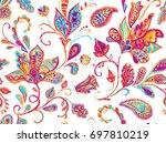 pretty vintage feedsack pattern ... | Shutterstock . vector #697810219