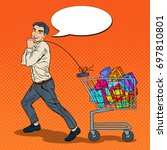 pop art happy man with shopping ... | Shutterstock .eps vector #697810801