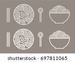 noodles and spoons and... | Shutterstock .eps vector #697811065