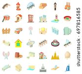 construction material icons set.... | Shutterstock .eps vector #697816585