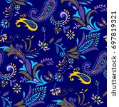 paisley pattern. colorful...   Shutterstock .eps vector #697819321