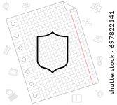 web line icon. shield. | Shutterstock .eps vector #697822141