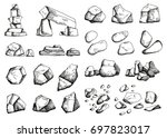 stones different set of sketch. ... | Shutterstock .eps vector #697823017