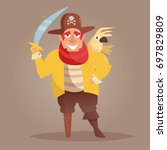 pirate with a wooden leg and a... | Shutterstock .eps vector #697829809