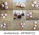 Small photo of Set of pungent garlic on wooden background