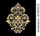 golden pattern on a black... | Shutterstock . vector #697846171