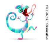 funny chameleon isolated on... | Shutterstock .eps vector #697846411
