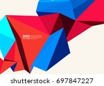 Vector Blue Red Color Triangle...