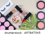 cosmetics top view on a... | Shutterstock . vector #697847545