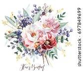 flower bouquet | Shutterstock . vector #697849699