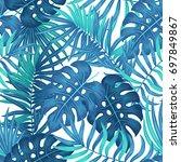 summer hawaiian seamless... | Shutterstock .eps vector #697849867