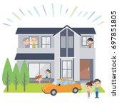 family 3 generations house... | Shutterstock .eps vector #697851805