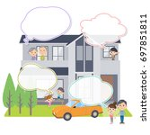 family 3 generations house... | Shutterstock .eps vector #697851811