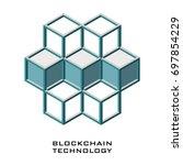 block chain shape on white... | Shutterstock .eps vector #697854229