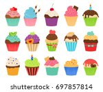 cupcakes flat icons. delicious... | Shutterstock . vector #697857814
