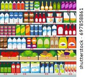 store shelves with dairy... | Shutterstock . vector #697858861