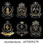set of vintage elements ... | Shutterstock . vector #697859179