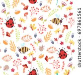 cute autumn seamless pattern.... | Shutterstock .eps vector #697861561
