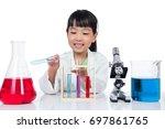asian chinese little girl... | Shutterstock . vector #697861765