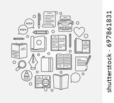 reading or literature circular... | Shutterstock .eps vector #697861831