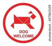 pet friendly sign vector.... | Shutterstock .eps vector #697863109