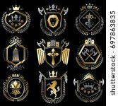 set of luxury heraldic... | Shutterstock . vector #697863835