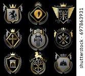 vintage heraldic coat of arms... | Shutterstock . vector #697863931