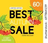 autumn sale vector gold banner... | Shutterstock .eps vector #697864159